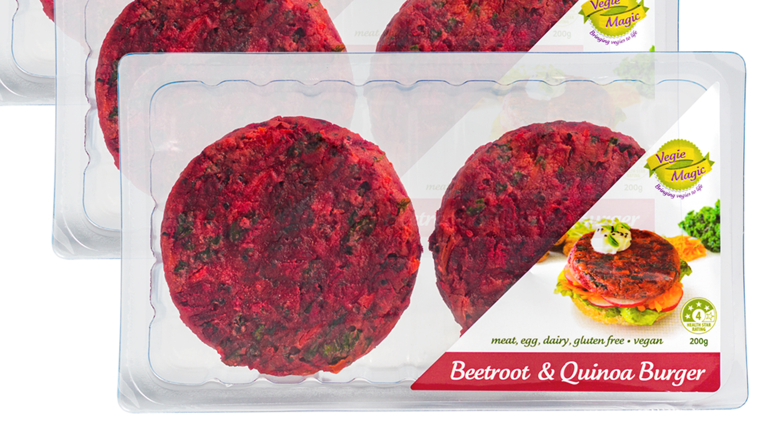 Vegie Magic Beetroot & Quinoa Vegan Patties - Retail Pack