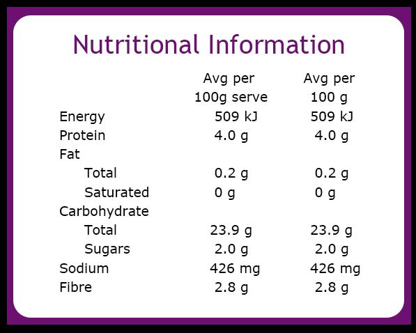 Vegie Magic Potato Rosti Nutritional Information Panel